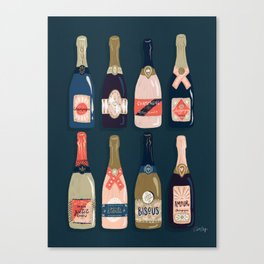 French Champagne Collection – Teal Canvas Print