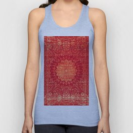 Geometric Orange Oriental Vintage Traditional Moroccan Mandala Unisex Tank Top