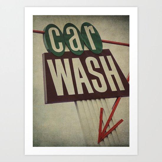Retro Car Wash Sign Art Print