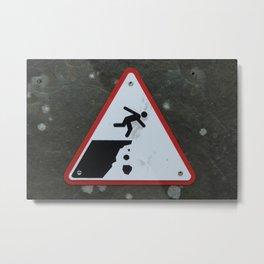 Caution Sign, Cliffs of Mohr Metal Print