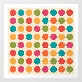 Mid Century Color Dots Art Print