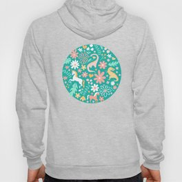 Dinosaurs + Unicorns on Teal Hoody