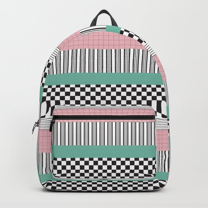 Pink and Teal Striped Pattern Rucksack