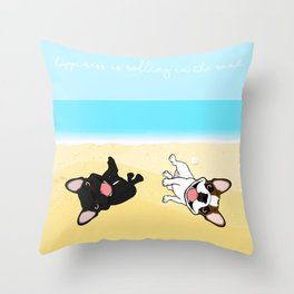 Frenchies Rolling In The Sand Throw Pillow