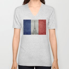 Flag of France with Eiffel Tower Unisex V-Neck