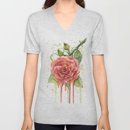 Red Rose Dripping Watercolor Flower Unisex V-Neck