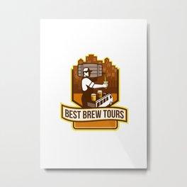 Bartender Pouring Beer Keg Cityscape Crest Retro Metal Print