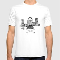 Bookworm White Mens Fitted Tee MEDIUM