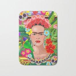 Frida Kahlo Floral Exotic Portrait Bath Mat