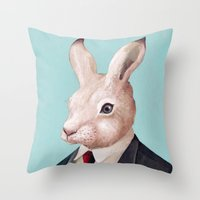 rabbit Throw Pillows featuring Rabbit by Animal Crew