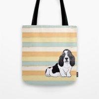 the hound Tote Bags featuring Basset Hound by Tammy Kushnir