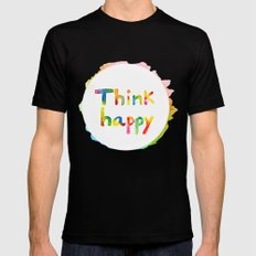 Think Happy Black MEDIUM Mens Fitted Tee