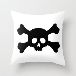 Simple Black Skull and Crossbones Throw Pillow