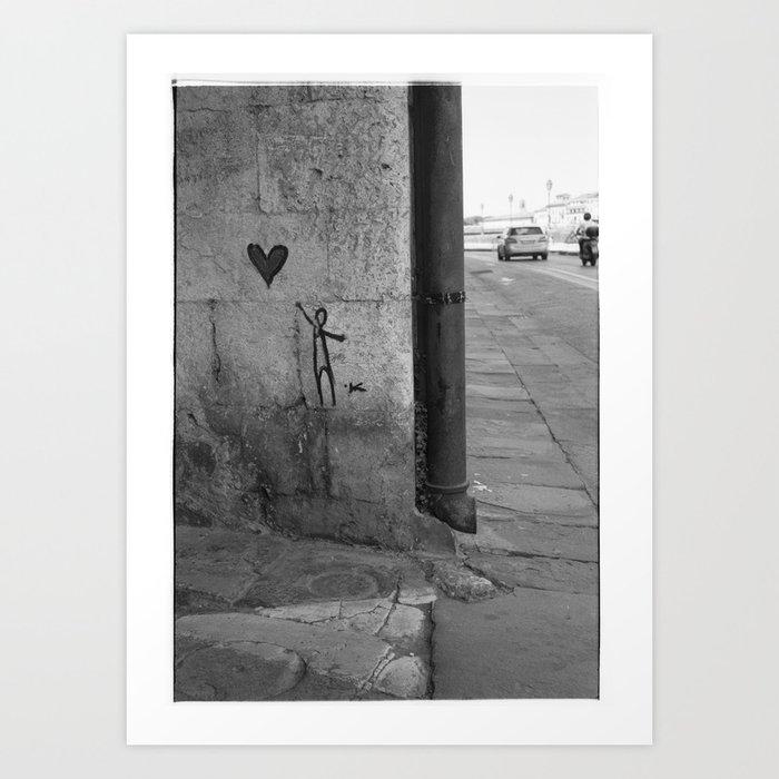 Reaching for love in Pisa Art Print