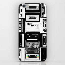 Retro Music Cassette Tapes - Black & White iPhone Skin