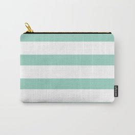 Mint and White Horizontal Stripes Carry-All Pouch