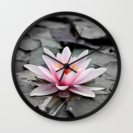 Pink Lotus Flower Waterlily Wall Clock