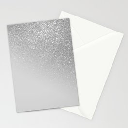 Diagonal Gray Silver Glitter Gradient Ombre Stationery Cards