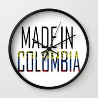 colombia Wall Clocks featuring Made In Colombia by VirgoSpice