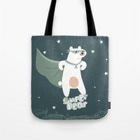 superheros Tote Bags featuring superbear by BabyKarot