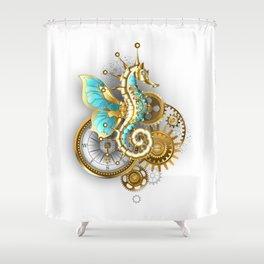 Mechanical Seahorse Shower Curtain