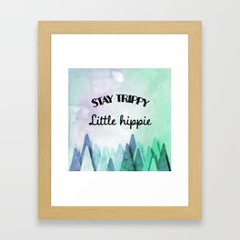 Stay trippy little hippie watercolor Framed Art Print