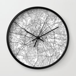 Manchester Map White Wall Clock
