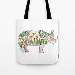 Floral Pattern Rhino Tote Bag