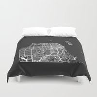 san francisco map Duvet Covers featuring SAN FRANCISCO by Nicksman