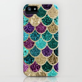 Mermaid Scales Decor, Teal, Purple, Gold iPhone Case
