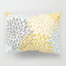 Floral Pattern, Yellow, Pale, Aqua, Blue and Gray Kissenbezug