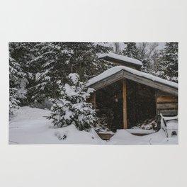 Winter at Lonesome Lake Hut Rug