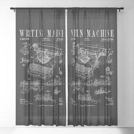 Typewriter Writing Machine Vintage Writer Patent Sheer Curtain