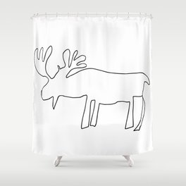 Line Moose Shower Curtain
