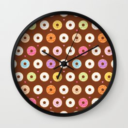 Kawaii Donuts Pattern on Brown Wall Clock