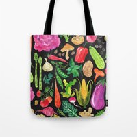 oana befort Tote Bags featuring VEGGIES in black by Oana Befort