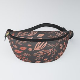 Floral pattern pink and black Fanny Pack