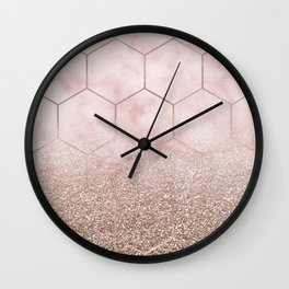 Glitter ombre hex - cloudy pink marble & rose gold glitter Wall Clock