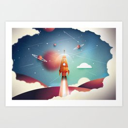 Colour Rocket Art Print
