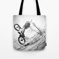 bikes Tote Bags featuring bikes  by KayleeRae