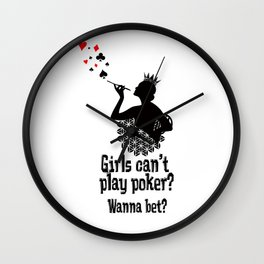 Poker Girls can't play poker? Wanna bet? Wall Clock