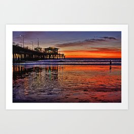 Sunset at Santa Monica Pier Art Print
