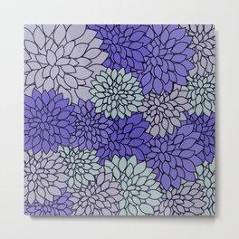 Ultra Violet Periwinkle Gray Dahlias Metal Print