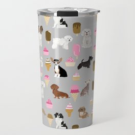 Small Dog Breeds with ice creams summer fun for the pet lover dog person in your life Travel Mug