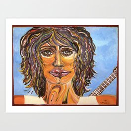 Guitar back me up Art Print