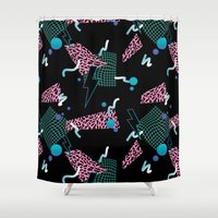 80s Shower Curtains featuring 80s Zone by Julia Alison