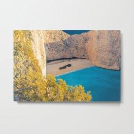 Shipwreck, Zakynthos, Greece coastal aquamarine blue beach photograph Metal Print