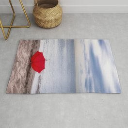 Red Umbrella at the beach Rug