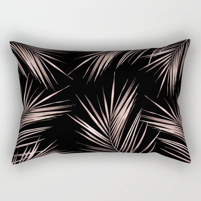 Rosegold Palm Tree Leaves on Midnight Black Rectangular Pillow