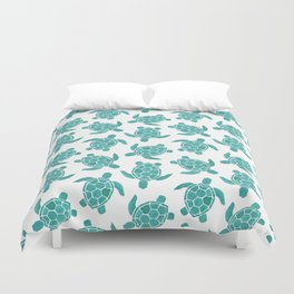 Save The Turtles in Teal Duvet Cover